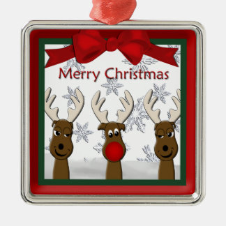 Weihnachtsren-Prämien-Verzierung Quadratisches Silberfarbenes Ornament