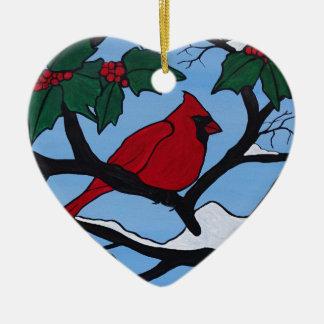 Weihnachtsrot-Kardinal Keramik Herz-Ornament