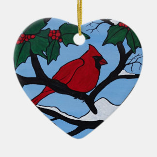 Weihnachtsrot-Kardinal Keramik Ornament