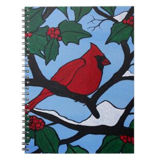 Weihnachtsrot-Kardinal Spiral Notizblock
