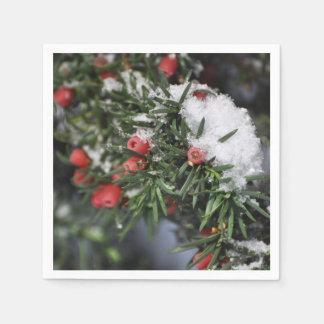 Weihnachtsrote Beeren und -schnee Serviette