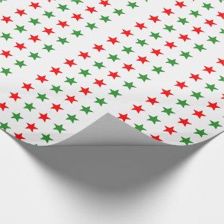 Weihnachtsrote und grüne Sterne Einpackpapier