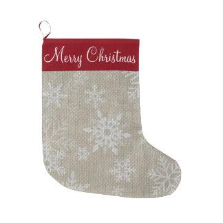 Weihnachtsroter Schneeflocke-Strumpf Großer Weihnachtsstrumpf