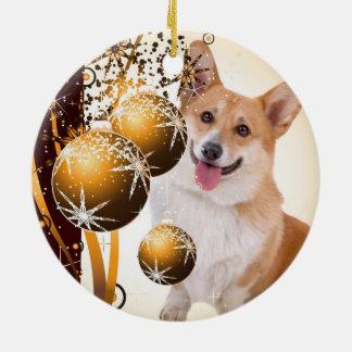 Weihnachtsroter und weißer Corgi Keramik Ornament