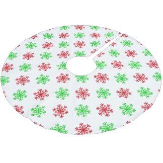Weihnachtsrotes und grünes Schneeflocke-Muster Polyester Weihnachtsbaumdecke