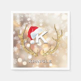 Weihnachtssankt-Schneeflocke-Geweihe Bokeh Lichter Papierservietten