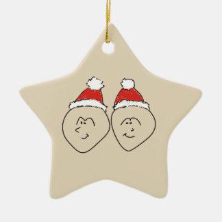 Weihnachtssankt-Zwillings-Astrologie-Zeichen-roter Keramik Stern-Ornament