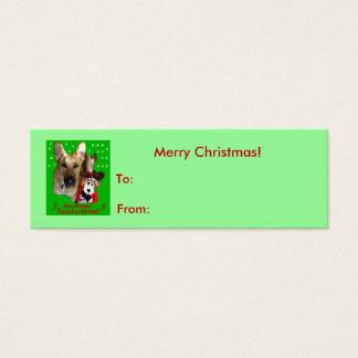 Weihnachtsschäferhund u. Spielzeug-Ren Mini Visitenkarte
