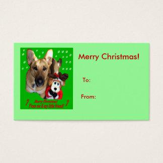 Weihnachtsschäferhund u. Spielzeug-Ren Visitenkarte