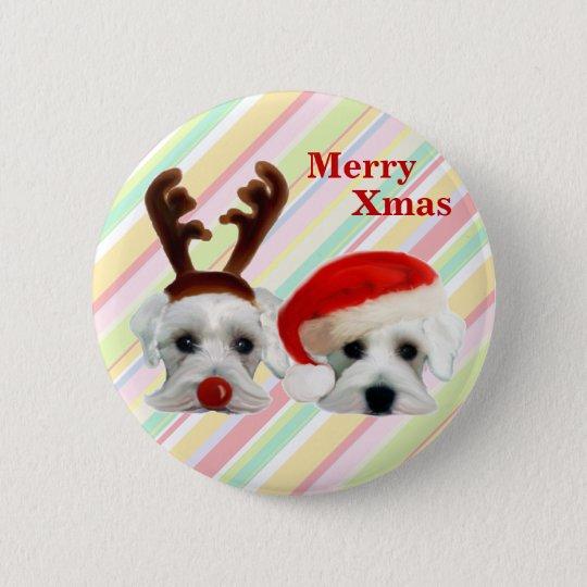 WeihnachtsSchnauzers Runder Button 5,7 Cm