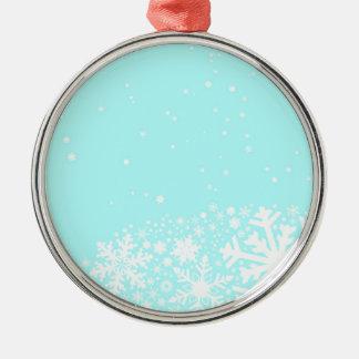 Weihnachtsschneeflocke-Hintergrund Rundes Silberfarbenes Ornament