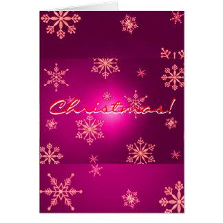 Weihnachtsschneeflocke-Rosa auf englisch Grußkarte