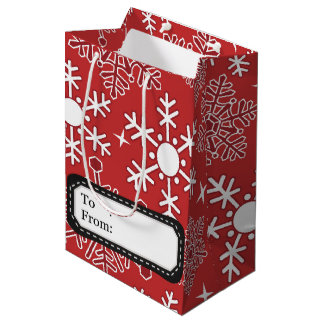 Weihnachtsschneeflockemuster Medium Geschenktüte