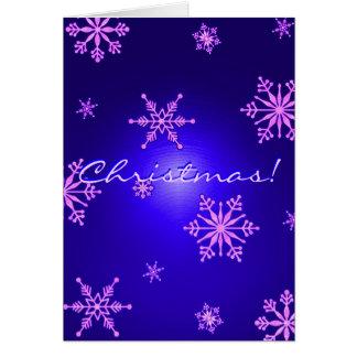 Weihnachtsschneeflocken blau in englischem I Grußkarte