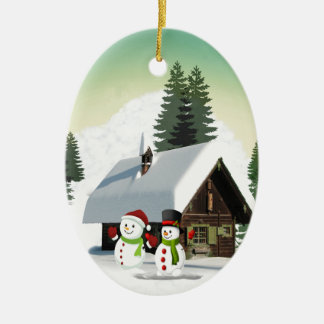 WeihnachtsSchneemann-Szene Ovales Keramik Ornament