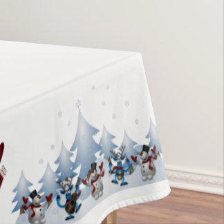 WeihnachtsSchneemann und -freunde Tischdecke