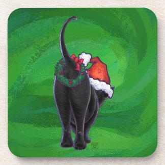 Weihnachtsschwarze Katze auf Grün Getränkeuntersetzer
