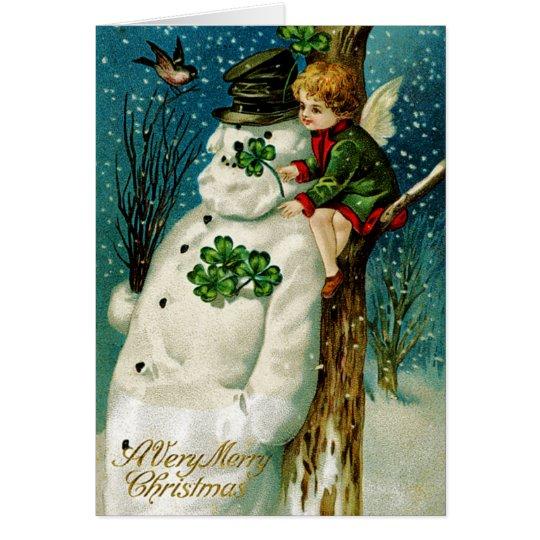 WeihnachtsSnowman mit Kleeblättern Karte