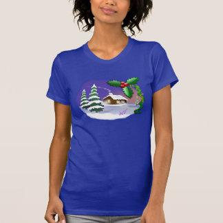 Weihnachtssnowy-Hütte Lapis feiner Jersey T - T-Shirt