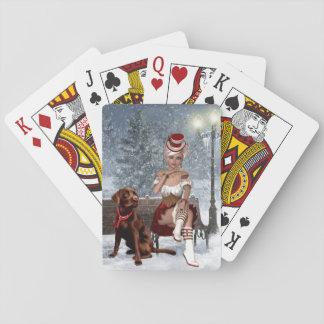 Weihnachtsspielkarten mit sexy Frau Spielkarten