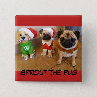 Weihnachtssprössling auf einem Knopf Quadratischer Button 5,1 Cm
