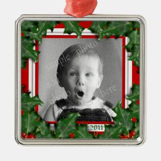 Weihnachtsstechpalme, Foto-Rahmen, rote Silbernes Ornament