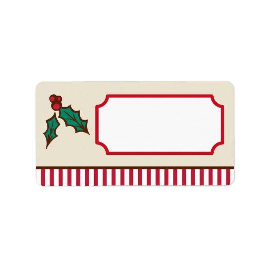 Weihnachtsstechpalmen-Aufkleber Adressaufkleber
