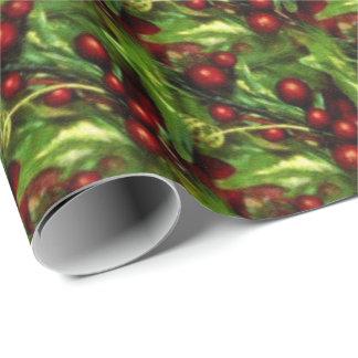 Weihnachtsstechpalmen-Beeren-Packpapier Geschenkpapier