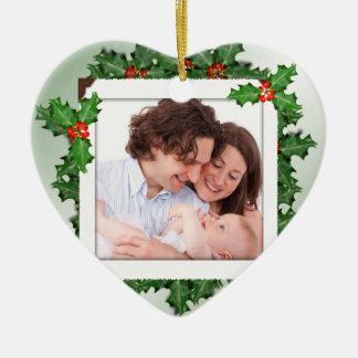 Weihnachtsstechpalmen-Herz-geformte Keramik Ornament