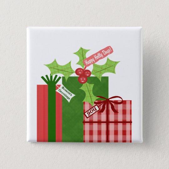 Weihnachtsstechpalmen-Knopf Quadratischer Button 5,1 Cm