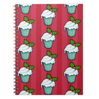 Weihnachtsstechpalmen-Kuchen-rotes Notizbuch 2 Spiral Notizblock