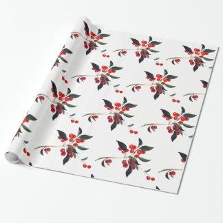 Weihnachtsstechpalmen-roter Beeren-Feiertag Geschenkpapier