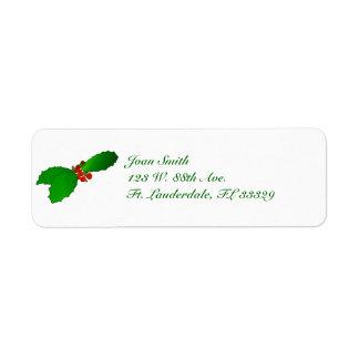 Weihnachtsstechpalmen-Rücksendeadressen-Aufkleber Rückversand-Adressaufkleber