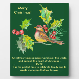 Weihnachtsstechpalmen-u. -vogel-Plakette Fotoplatte
