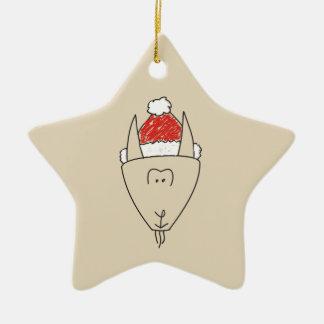 Weihnachtssteinbock-rotes Stern-Astrologie-Chic Keramik Stern-Ornament