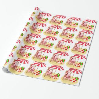 Weihnachtsstrand Weihnachtsmann Geschenkpapier