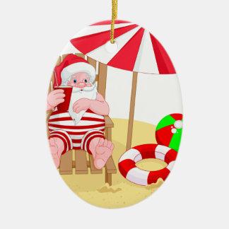 Weihnachtsstrand Weihnachtsmann Keramik Ornament