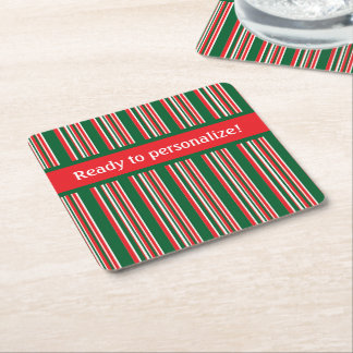 Weihnachtsstreifen Rechteckiger Pappuntersetzer