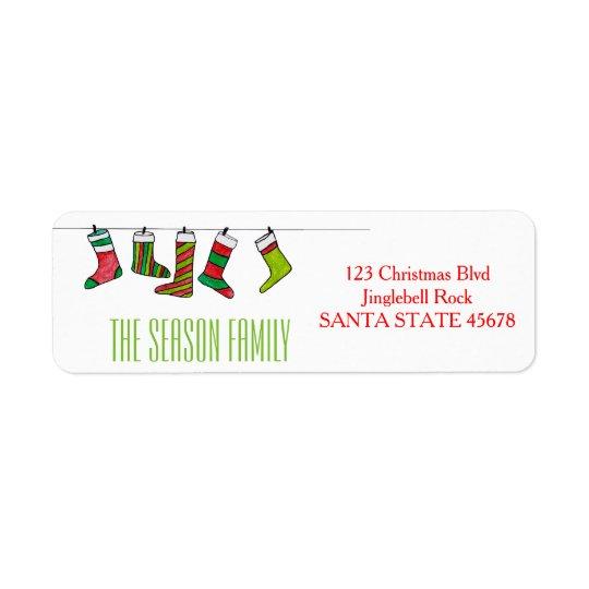 WeihnachtsStrumpf-Adressen-Etikett Rücksende Aufkleber