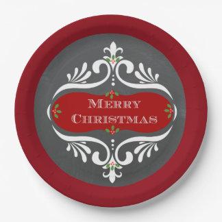 Weihnachtstafel-roter PapierTeller