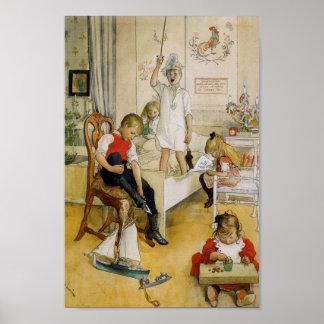 Weihnachtstag im Kinderzimmer Poster