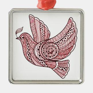 Weihnachtstaube Quadratisches Silberfarbenes Ornament