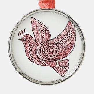 Weihnachtstaube Rundes Silberfarbenes Ornament