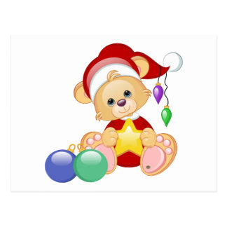 WeihnachtsTeddybär mit Stern Postkarte