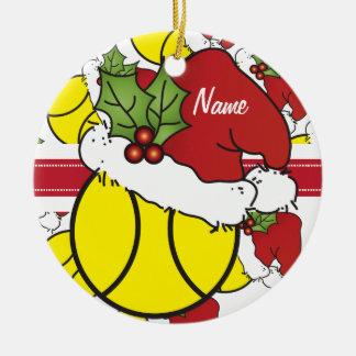 WeihnachtsTennisball | personifizieren Rundes Keramik Ornament