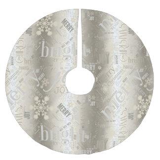 Weihnachtstext-und -schneeflocke-Muster ID257 Polyester Weihnachtsbaumdecke