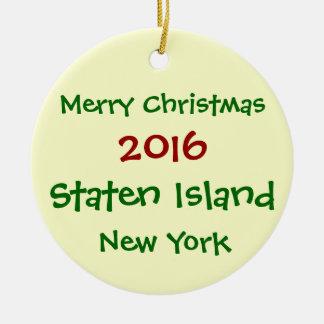 WEIHNACHTSverzierung 2016 NEW YORK Staten Island Rundes Keramik Ornament