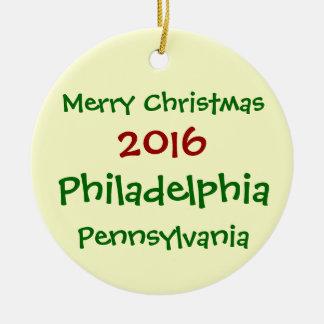 WEIHNACHTSverzierung 2016 PHILADELPHIAS Rundes Keramik Ornament