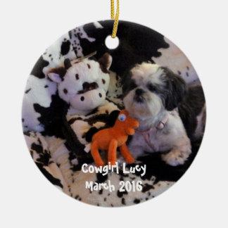 Weihnachtsverzierung addieren Foto Rundes Keramik Ornament