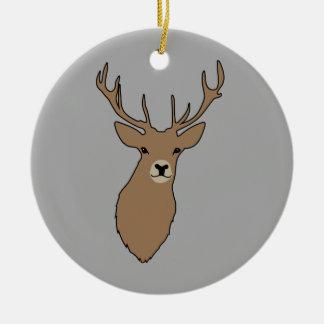 Weihnachtsverzierung Cyril das Hirsch-Grau Keramik Ornament